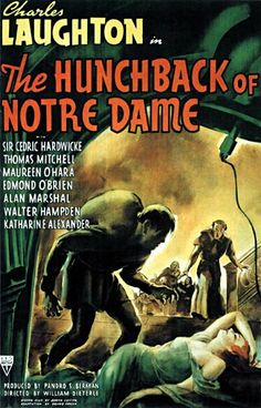 The Hunchback of Notre Dame (1939): In 15th century France, a gypsy girl is framed for murder by the infatuated Chief Justice, and only the deformed bellringer of Notre Dame Cathedral can save her.