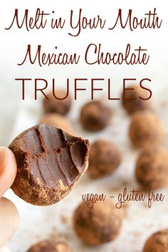 Mexican Chocolate Truffles (vegan, gluten free) - These decad. - Vegan Desserts -Melt-In-Your-Mouth Mexican Chocolate Truffles (vegan, gluten free) - These decad. Vegan Chocolate Truffles, Vegan Truffles, Gluten Free Chocolate, Chocolate Desserts, Truffles Easy No Bake, Dairy Free Truffles, Dark Chocolate Recipes, Healthy Chocolate, Chocolate Brownies