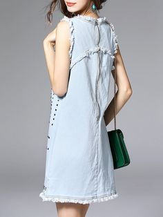 Blue Casual Polyester Mini Dress