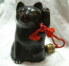 Beckoning cat Maneki neko antique Figure Vintage  by jpmslcom