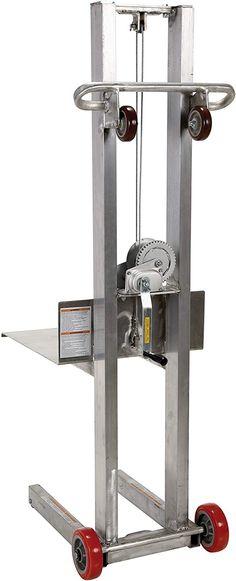 Vestil Aluminum Lite Load Lift Winch, - Height Range, Length x Width Platform, 400 lbs Capacity Mechanical Engineering Design, Mechanical Design, Homemade Tools, Diy Tools, Attic Lift, House Lift, Elevator Design, Epoxy Resin Wood, Lift Design