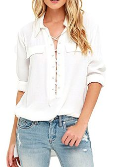 Sidefeel Women Long Sleeve Collared Laceup Top Blouse XLarge White * You can find more details by visiting the image link.Note:It is affiliate link to Amazon.