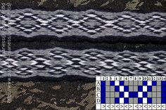 A simple tablet woven pattern turning all tablet 4 forwards and 4 backwards.