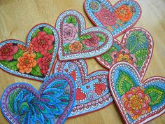 Doodle Valentines after they have been colored.  By Jolene Eborn