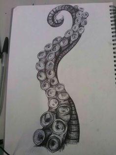 Octopus' tentacle. | Jellyfish Drawing, Octopus Drawing, Octopus Painting, Squid Drawing, Octopus Sketch, Octopus Artwork, Tentacle Tattoo, Octopus Tattoos, Octopus Tattoo Design