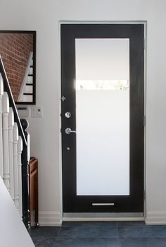 Single white fiberglass patio door with large glass view, clean trim ...