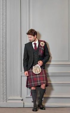 The Heritage Collection: The MacGregor hunting tartan kilt paired with matching plaid and clan crest accessories. Styled with a tweed jacket. Scottish Dress, Scottish Man, Men In Kilts, Kilt Men, Sport Kilt, Scotland Kilt, Tartan Kilt, Plaid, Men Store