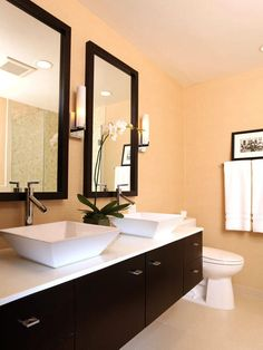 Contrasting Colors - 12 Designer Bathrooms for Less on HGTV