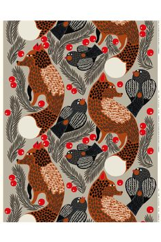 Made of cotton, this printed cotton fabric in the light grey and reddish brown Ketunmarja pattern is printed in Marimekko´s printing mill in Helsinki. This fabric can be made into curtains, a tablecloth and much more. Marimekko Fabric, Christmas Trends, Christmas 2019, Types Of Curtains, Forest Design, Rod Pocket Curtains, Extra Fabric, Reddish Brown, Fabric Swatches