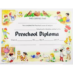 preschool graduation certificates | Unique Preschool Diploma | SimpleAchievements