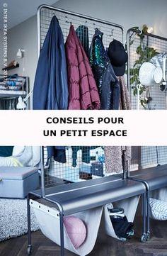 Aucune maison n'est trop petite pour recevoir des invités ! Optez pour des meubles mobiles et multifonctionnels et créez un endroit où tout le monde peut laisser ses affaires. VEBERÖD Cloison de séparation, 129,-/pce. #IKEABE #idéeIKEA No space is too small for guests! Go for movable and multifunctional furniture and create a place where they can put away their stuff. VEBERÖD Room divider, 129,-/pce. #IKEABE #IKEAidea