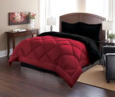 Sweet Home Collection 3 Piece Reversible Polyester Microfiber Goose Down Alternative Comforter Set with Pillow Shams, King, Burgundy/Black -- To view further for this item, visit the image link.