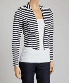 Look at this #zulilyfind! Black & White Stripe Blazer #zulilyfinds