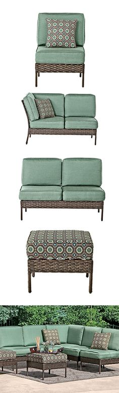Position your patio furniture any way you'd like with the Charleston 7-Piece Sectional Set! Includes armless lounge chair, corner loveseat, armless loveseat, and 2 coordinating ottomans, all cushioned, with resin wicker over steel frames. Plus 2 toss pillows! In-store only. #shopko