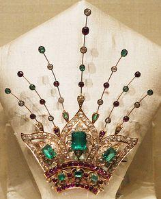 Turban ornament. Nizams of Hyderabad (1720–1948) India. Rubies, emeralds, diamonds