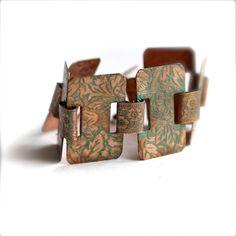Verdigris Patina Floral Vintage Copper Panel Bracelet  by balanced, $40.00