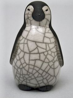 Penguin Chick ceramic raku fired handmade sculpture by 247gallery, £20.00