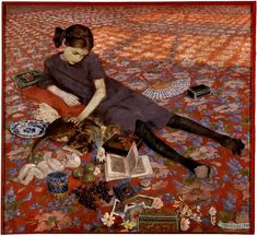 "Felice Casorati ""Girl On a Red Carpet"" 1912 