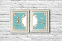 Digital Download Set 24 Set of Gold and Aqua Coastal  11x14 Prints. $10.00, via Etsy.