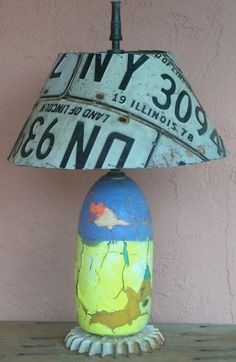 Recycled license plates as lampshade.
