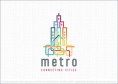 Logo for sale: Clean and modern cityscape and residential buildings created with overlapping colorful lines. The lines create the impression of the buildings, curve and overlapping each other below the city line to create a subway transit system below the the metro city.