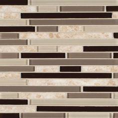 Amalfi Cafe Interlocking Pattern 6 MM Glass and Stone Mosaic Backsplash Tile