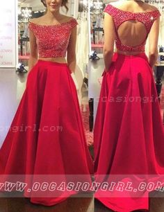 Modern Scoop Cap Sleeves Backless Two-pieces Prom Dress With Beading