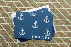 Silver Nautical Anchor Pattern - Thank You Card - MelmacMaven - Etsy
