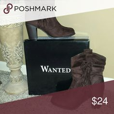 Wanted NEW brown fringed booties BRAND NEW in box. Brown suede looking boots Wanted Shoes Ankle Boots & Booties