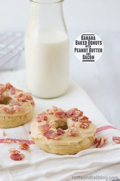 Banana Baked Donuts with Peanut Butter and Bacon {Elvis Donuts} - Taste and Tell