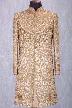 Beige & Gold Raw Silk Zari Embroidered Wedding Sherwani-SH338