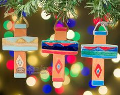 Hand crafted saltillo tile cross ornaments will make the perfect addition to your southwestern Christmas season. Southwestern Christmas Ornaments, Rustic Christmas, Christmas Ideas, Xmas Tree Lights, Christmas Tree Decorations, Birthday Candles, Glaze, Enamel, Primitive Christmas
