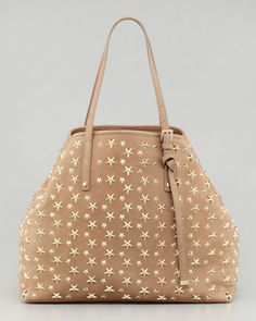Sasha Star-Studded Tote Bag, Buff by Jimmy Choo at Neiman Marcus.