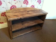 Rustic Pine Corner Tv Unit Stand/cabinet With Shelves Solid Chunky Wood Shabby