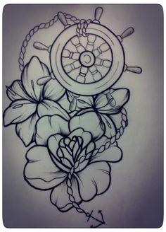 ship wheel #nautical #tattoo #flowers #lily #rose #tinysailor