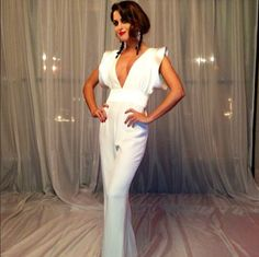 #white #bridal #clothes #fashion #jumpsuit #post #honeymoon #engagement #rehearsal #bachelorette