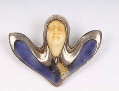Rarität THEODOR FAHRNER Jugendstil Brosche Bein Gesicht 900 Silber Email um 1900