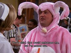 Who else fell over with laughter when Chandler (Matthew Perry) came on-stage wearing this pink bunny outfit? Friends Tv Quotes, Friends Scenes, Friends Moments, Friend Memes, Friends Show, Funny Moments, Chandler Friends, Ross Geller, Phoebe Buffay