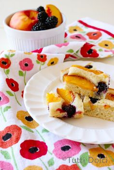 Nectarine-Blackberry Cake ~T~ Love this for a summer dessert. I often take it to concerts in the park.