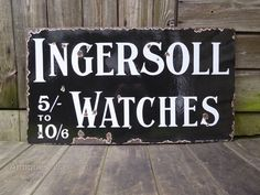 A great site to find real Vintage Advertising Signs now for sale, Vintage Advertising Signs listed on the UK's leading antiques directory. Vintage Advertising Signs, Vintage Advertisements, Ingersoll Watches, Industrial Signs, Furniture Ideas, 1920s, Enamel, Antiques, Antiquities