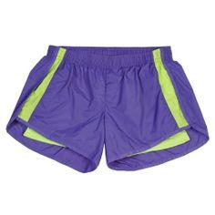 Violet and Lime Green Side Stripe Endurance Nylon Shorts, Extra Large