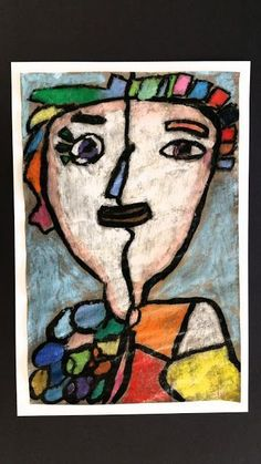 Paintbrush Rocket: 5th Grade Picasso Selfies. Art lessons for kids.