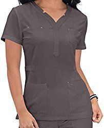 KOI 293 Women's Sapphire Francesca Top Steel Large: Stylish top with stretch. Adjustable buckles at sides for a truly great fit. Soft and luxurious to the touch. 2 chest pockets with rivets. 2 patch pockets in front with rivets. Scrubs Uniform, Womens Scrubs, Medical Scrubs, 4 Way Stretch Fabric, Stylish Tops, Womens Fashion For Work, Black Tops, Men Casual, Nursing Uniforms