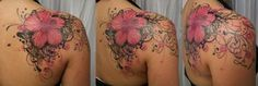 Awsome Flower Shoulder Tattoo photo Pink_Flower_heart_tribal_TaT_by_2Face_Tattoo.jpg