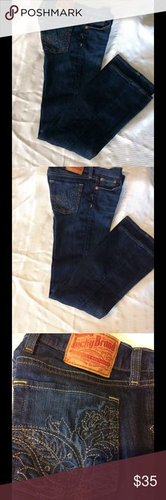 Lucky Brand jeans size 4-27 Luck brand rich indigo wash, low rise leg flattering, zip fly button closure, five functional pockets, belt loops and beautiful embroidered back pockets these jeans have so much to offer in excellent almost new-used condition. Lucky Brand Jeans