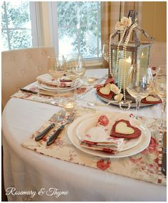 Rosemary and Thyme: Cabbage Rose Valentine's Day Tablescape