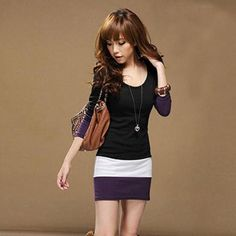 1PC Autumn Dress Womens Casual Long Sleeve Slim Stripe Party A-Line Mini Dress Clothing Sexy Black Purple Bodycon Dress - Hespirides Gifts