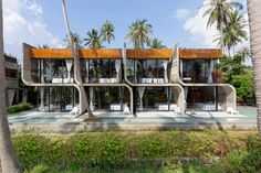 Bunjob House is located on the mid of tropical coconut plantation at Phangan island. The main color used for Bunjob House was pale gray due to the main materials as concrete. The design is … Hotel Architecture, Architecture Design, Two Storey House, Concrete Slab, House Built, House Design, Studio, House Styles, Thailand