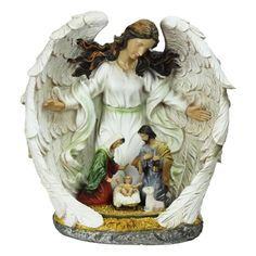 12 Guardian Angel and the Holy Family Nativity Scene Christmas Table Top Decoration, White