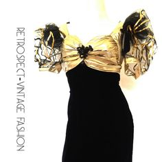 80's vintage PROM DRESS 80's prom dress metallic gold black cocktail dress avant garde dress puff sleeves size s small 6 weekend ny paris by ShopRVF on Etsy